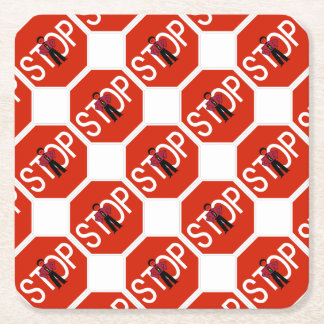 Red Ron Stop Sign Square Paper Coaster