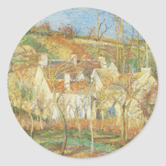 Red Roofs, Corner of a Village, Winter by Pissarro Classic Round Sticker