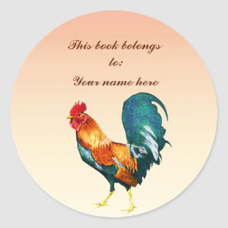 Red Rooster Bird Animal Bookplate Classic Round Sticker