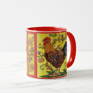 Red Rooster Chicken Folk Art Mug Yellow Floral