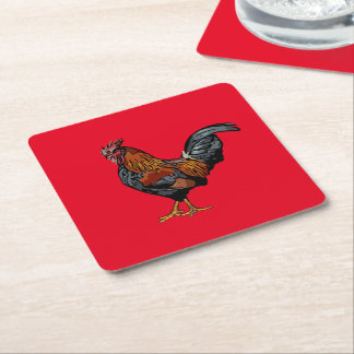 Red Rooster Coaster Square Paper Coaster