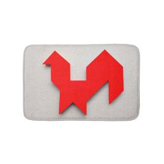 Red rooster Tangram Bath Mat