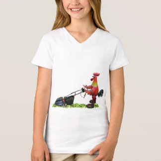 Red rooster with a lawnmower wearing work boots T-Shirt