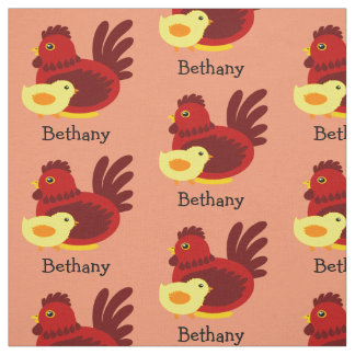 Red Rooster with Chick Fabric