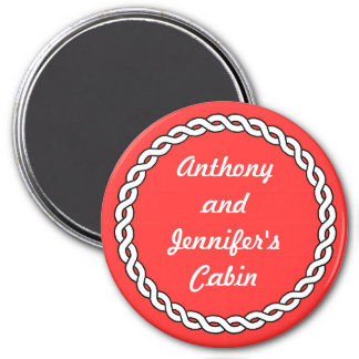 Red Rope Border Stateroom Door Marker red 7.5 Cm Round Magnet
