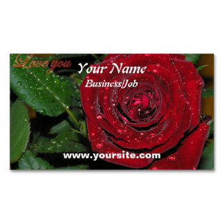 Red Rose #2 Magnetic Business Cards