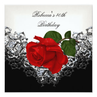 "RED Rose 40th Birthday Lace Black White Silver 5.25"" Square Invitation Card"