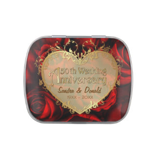 Red Rose 50th Wedding Anniversary - Customize Jelly Belly Candy Tin