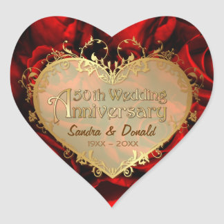 Red Rose 50th Wedding Anniversary Heart Stickers