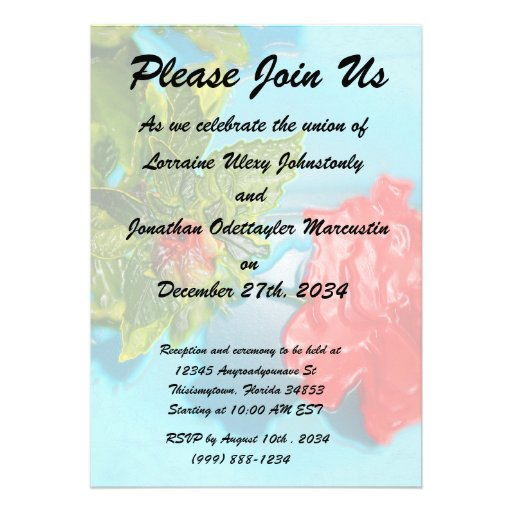 red rose against blue plastic wrap style personalized announcement
