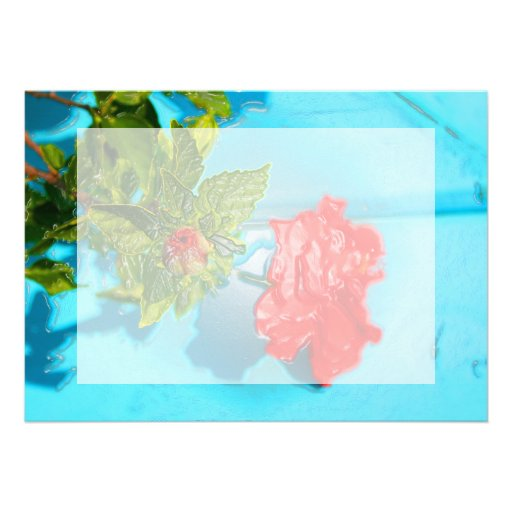 red rose against blue plastic wrap style cards