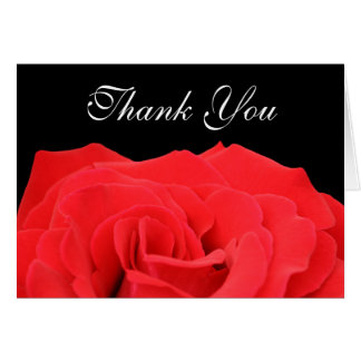 Red Rose and Black Thank You Card