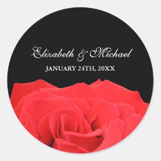 Red Rose and Black Wedding Favor Label Round Sticker