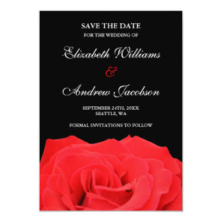 """Red Rose and Black Wedding Save the Date 5"""" X 7"""" Invitation Card"""