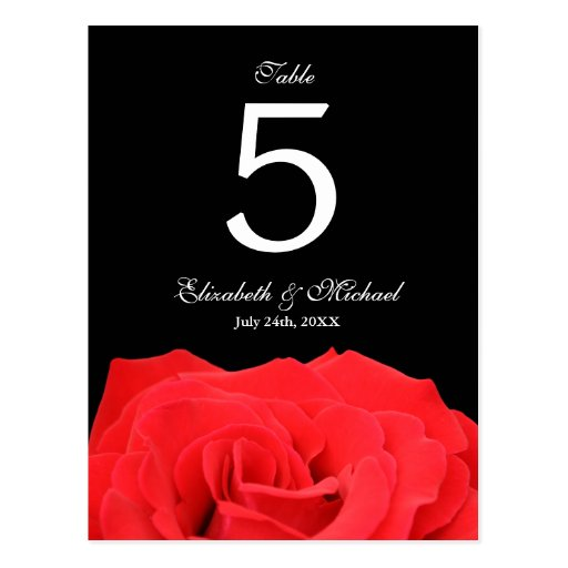 Red Rose and Black Wedding Table Number Postcards