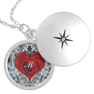 Red Rose and crystals Locket Necklace