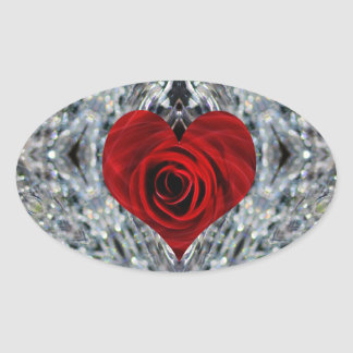 Red Rose and crystals Oval Stickers