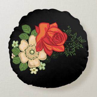 Red Rose and Daisies Black Background Round Cushion