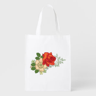 Red Rose and Daisies Reusable Grocery Bag