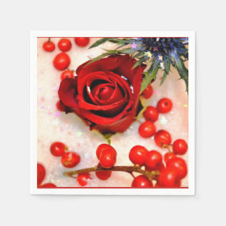 RED ROSE AND HOLLY DECORATION DISPOSABLE SERVIETTE