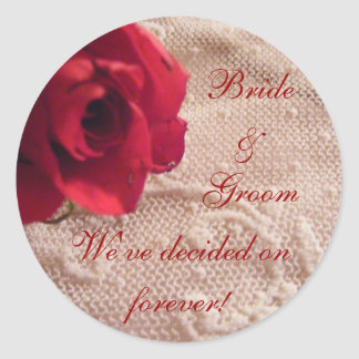 Red Rose and Lace Envelope Seals Round Sticker