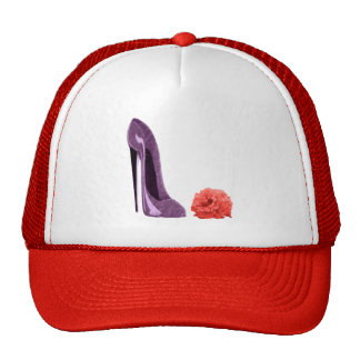 Red Rose and Lilac Stiletto Shoe Art Mesh Hats