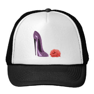Red Rose and Lilac Stiletto Shoe Art Trucker Hats