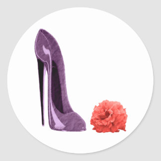 Red Rose and Lilac Stiletto Shoe Art Round Sticker