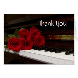 Red Rose and Piano Keys Card