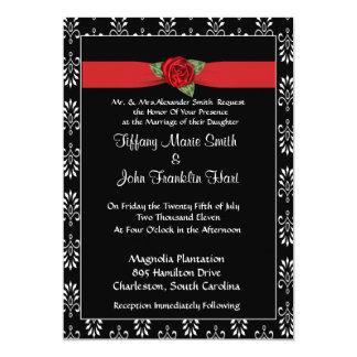 Red Rose and Ribbon Wedding Invitation