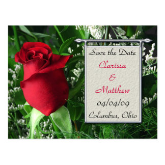 Red Rose and Silver Frame Save the Date Post Cards