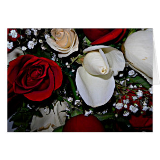 Red rose and white rose bud card