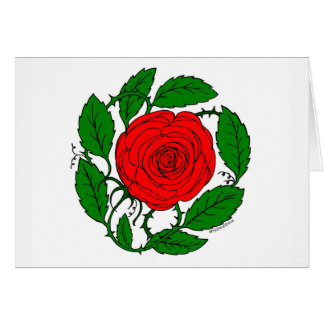 """Red Rose Art on Blank Note Card, 5.5"""" x 4.25 Card"""