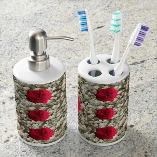 Red Rose Baby's Breath Soap Dispenser And Toothbrush Holder