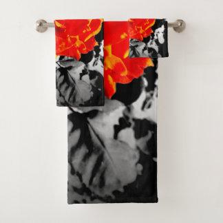 Red rose Bathroom Towel single or full Set