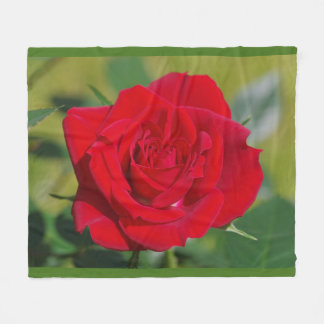 Red Rose Beauty Fleece Blanket