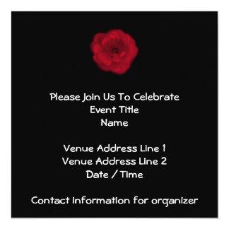 Red Rose. Black Background. 13 Cm X 13 Cm Square Invitation Card