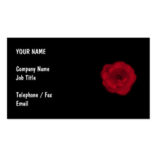 Red Rose. Black Background. Business Card Template