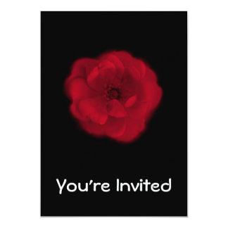 Red Rose. Black Background. 13 Cm X 18 Cm Invitation Card