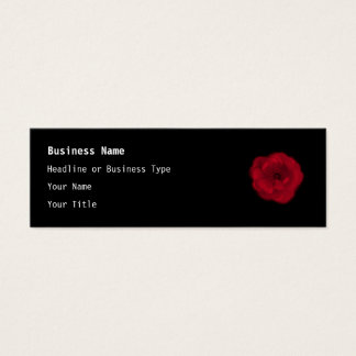 Red Rose. Black Background. Mini Business Card