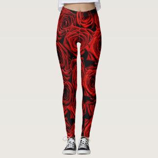 Red rose | Black Ground Print Leggings