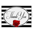 Red Rose Black White Stripe Wedding Thank You Card