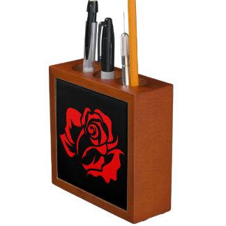 Red Rose Bloom Customizable Desk Organiser