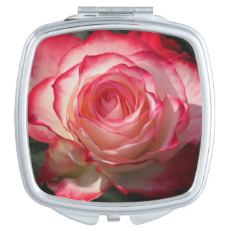 Red rose blossom travel mirrors