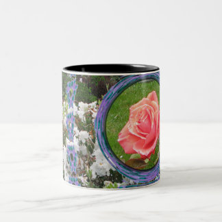 Red Rose Blue and White Flowers Coffee Mug