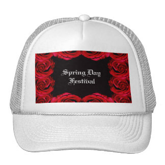 Red rose border trim hat (customise)