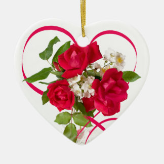 Red Rose Bouquet and Ribbon Heart Ceramic Heart Decoration