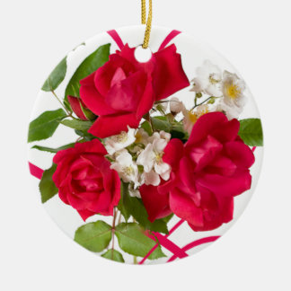 Red Rose Bouquet and Ribbon Round Ceramic Decoration