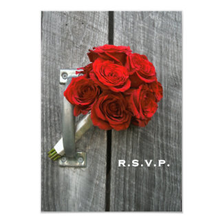 Red Rose Bouquet & Barn Wood Wedding RSVP Card