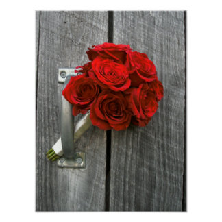 Red Rose Bouquet & Barnwood Poster